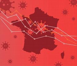 France economic crisis vector illustration. Pandemic chart. Red Background.