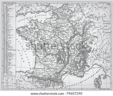 """France, engraving vector map from """"The Complete encyclopedia of illustrations"""" containing the original illustrations of The iconographic encyclopedia of science, literature and art, 1851."""