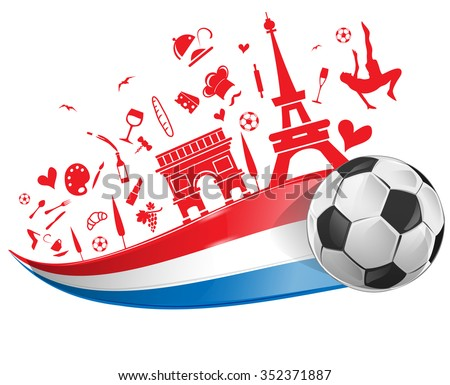france flag and symbol set with