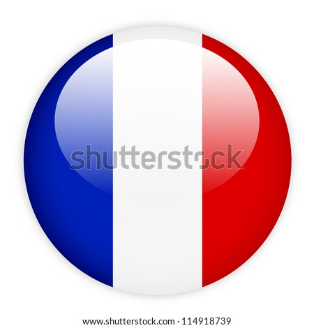 France flag button on white