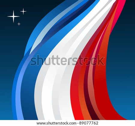 France flag illustration fluttering on blue background. Vector file available.