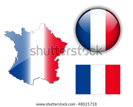 France flag, map and glossy button, vector illustration set.