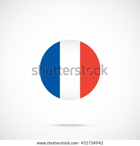 France flag round icon. France flag icon with accurate official color scheme. Vector icon isolated on gradient background