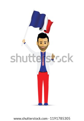 France flag waving man and woman