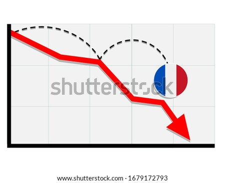 France flag with red arrow graph going down showing economy recession and shares fall. Crisis, France economy concept. For topics like global economy, Francee conomy, banking, finance Photo stock ©