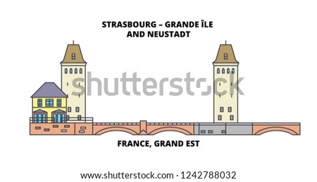 France, Grand Est -Strasbourg – Grande Ile And Neustadt line travel landmark, skyline vector design. France, Grand Est -Strasbourg – Grande Ile And Neustadt linear illustration.