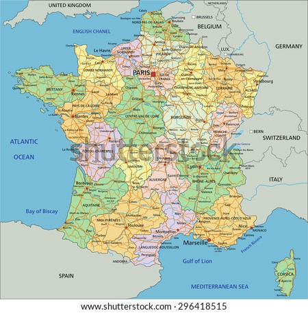 france highly detailed editable political map with labeling