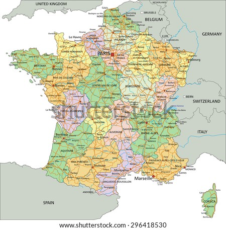 France Highly Detailed Editable Political Map With Labeling Ez
