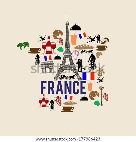 France landmark map silhouette icon on retro background, vector illustration