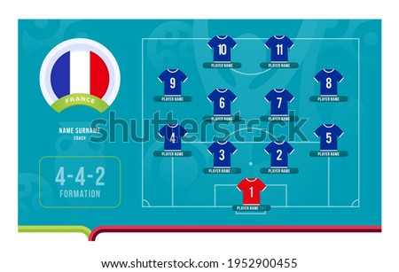 France line-up Football 2020 tournament final stage vector illustration. Country team lineup table and Team Formation on Football Field. euro 2020 soccer tournamet Vector country flags. Photo stock ©
