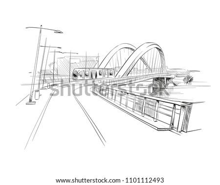 France. Lyon. Bridge Pont Raymond Barre. Hand drawn sketch. Vector illustration.