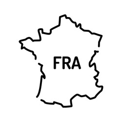 France map black line icon. Border of the country. Pictogram for web page, mobile app, promo. UI UX GUI design element. Editable stroke.