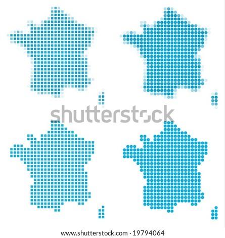 France map mosaic set. Isolated on white background.