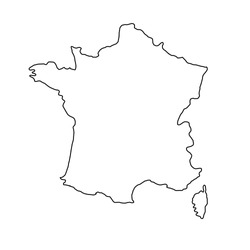 France map of black contour curves of vector illustration