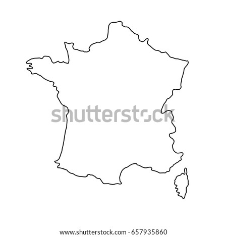 France map of black contour curves of vector illustration