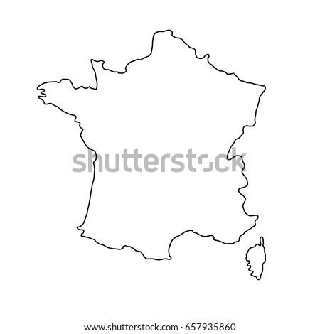 france map of black contour