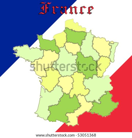 france map over national colors, abstract vector art illustration
