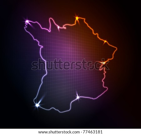 France map, stylized glowing vector illustration