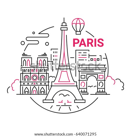 France - modern vector line travel illustration. Have a trip, enjoy your French vacation. Landmark image. An unusual composition with the Eiffel tower, Notre dame, arc de triumphal, tree, city
