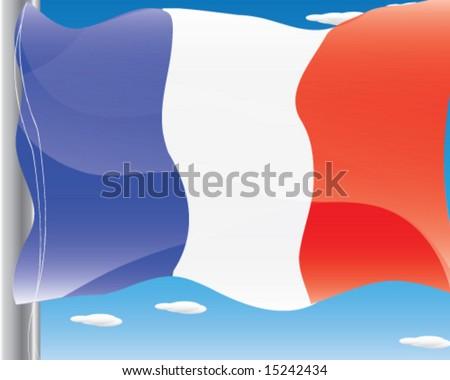 France National Flag and Flag Pole Vector Illustration