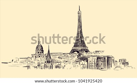 France. Paris city. Eiffel Tower hand drawn sketch. Vector illustration.