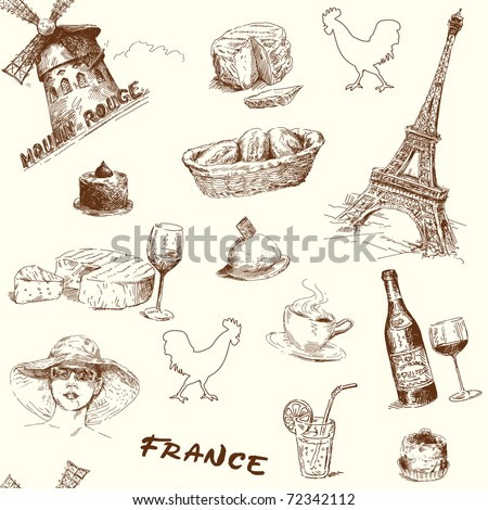 Wallpaper Of Paris France. vector : france-paris-hand