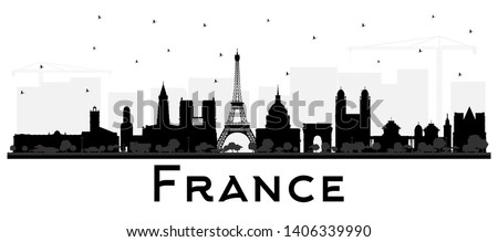 france skyline silhouette with