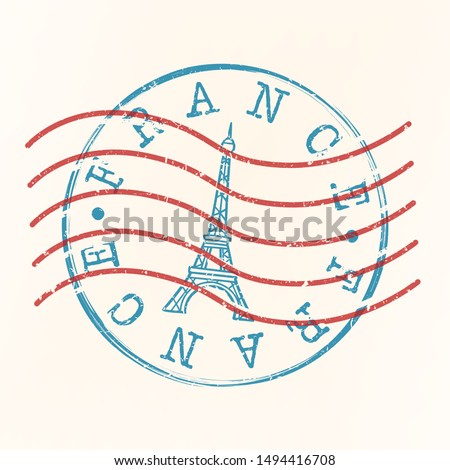 France Stamp Postal. Tower Eiffel Silhouette Seal. Passport Round Design. Vector Icon. Design Retro Travel.