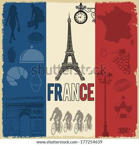 france travel grunge seamless...