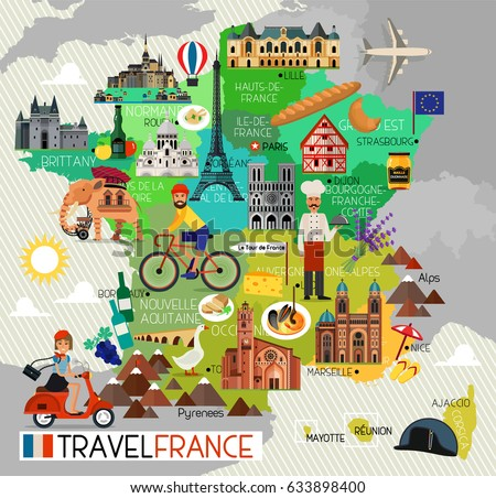 France Travel Icons. Travel Map. Vector Illustration.