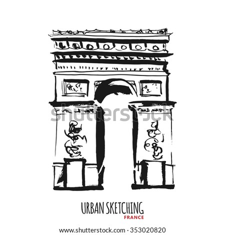 France urban sketch. Paris,  Avenue des Champs Elysees, Arc de Triomphe, outdoor, historical building. Hand drawn vector illustration. Freehand line art drawing with ink pen on paper. Vintage postcard
