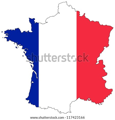 France vector map with the flag inside.