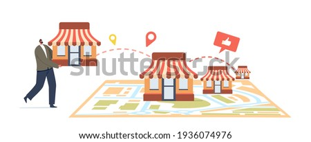 Franchise Business Concept. Tiny Male Character Put Kiosk on Huge Map. Businessman Start Small Enterprise Expansion or Company with Home Office, Corporate Headquarter. Cartoon Vector Illustration Сток-фото ©