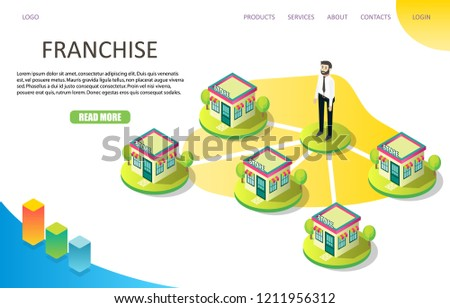 Franchise business landing page website template. Vector isometric illustration. Chain store or retail chain concept.