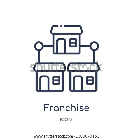 franchise icon from startup outline collection. Thin line franchise icon isolated on white background. Foto d'archivio ©