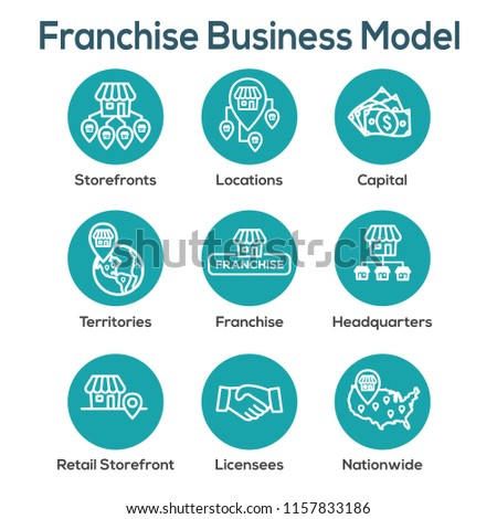 Franchise Icon Set with Home Office, corporate Headquarters - Franchise Icon Images Foto d'archivio ©