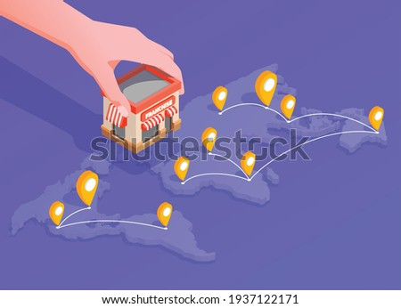 Franchise isometric composition with location and finance symbols vector illustration Stockfoto ©