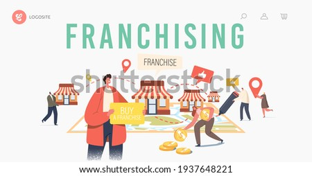 Franchising Landing Page Template. Tiny Characters Put Kiosks on Huge Map. People Start Franchise Small Enterprise, Company or Shop with Home Office, Corporate Headquarter. Cartoon Vector Illustration Stockfoto ©