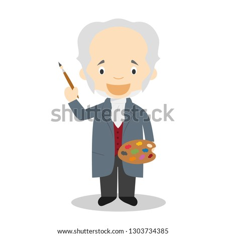Francisco de Goya cartoon character. Vector Illustration. Kids History Collection.