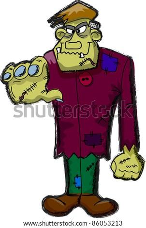 Frankenstein cartoon, happy Halloween