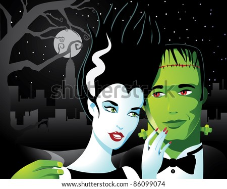 Frankenstein out own the town Frankenstein and his bride take a stroll in a city park. EPS 8 vector, grouped for easy editing.