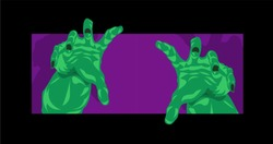Frankenstein zombie hands for Halloween theme reaching out to grab you