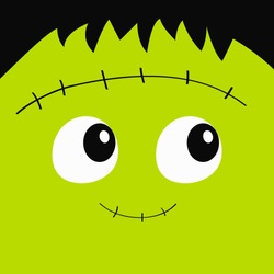 Frankenstein. Zombie monster square face icon. Cute cartoon funny spooky baby character. Happy Halloween. Green head. Greeting card. Flat design. White background. Vector illustration