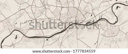 Frankfurt city map poster. Map of Frankfurt street map poster. Frankfurt map vector illustration.