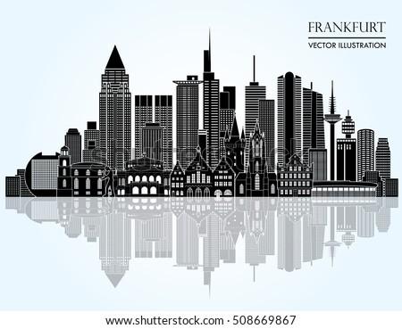 Frankfurt germany detailed skyline vector illustration 508669867 shutterstock - Dusseldorf wandtattoo ...