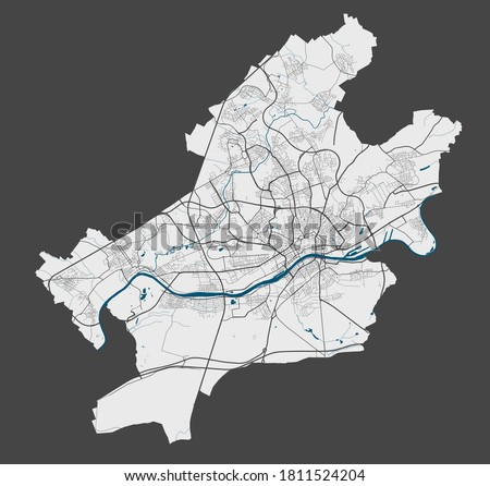 Frankfurt map. Detailed map of Frankfurt city administrative area. Cityscape panorama. Royalty free vector illustration. Outline map with highways, streets, rivers. Tourist decorative street map.