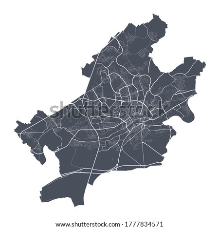 Frankfurt map. Detailed vector map of Frankfurt city administrative area. Dark poster with streets on white background.