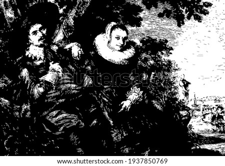 Frans Hals can now be found in the Riik's Museum in Amsterdam, vintage engraving. Stok fotoğraf ©