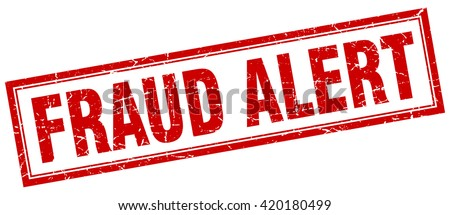 fraud alert red grunge square stamp on white sign