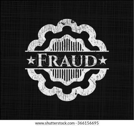 Fraud chalkboard emblem on black board
